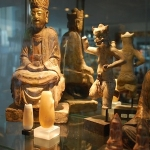 18c guanyin with egyptian ancient alabaster jars and chinese war god