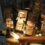 pre columbian figures with zuni stone mountain lion fetish