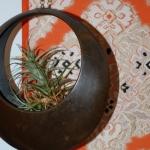 antique bronze hanging moon vase japan