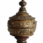 19c burmese lacquer covered offering vessel